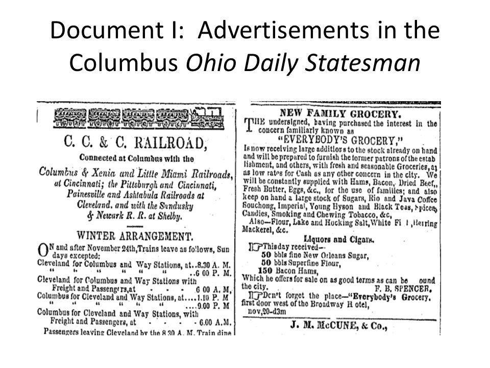 Document I: Advertisements in the Columbus Ohio Daily Statesman