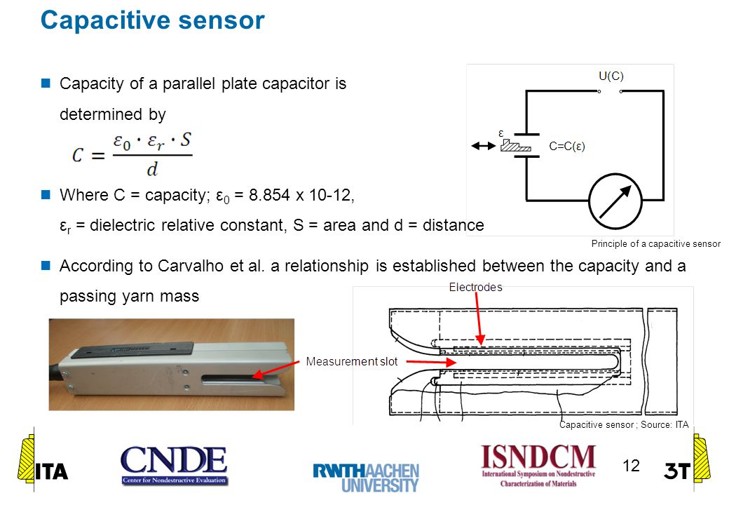 Capacitive sensor Capacity of a parallel plate capacitor is determined by Where C = capacity; ε 0 = 8.854 x 10-12, ε r = dielectric relative constant, S = area and d = distance According to Carvalho et al.