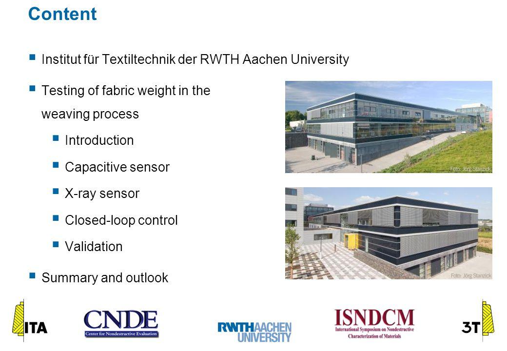 Content  Institut für Textiltechnik der RWTH Aachen University  Testing of fabric weight in the weaving process  Introduction  Capacitive sensor 