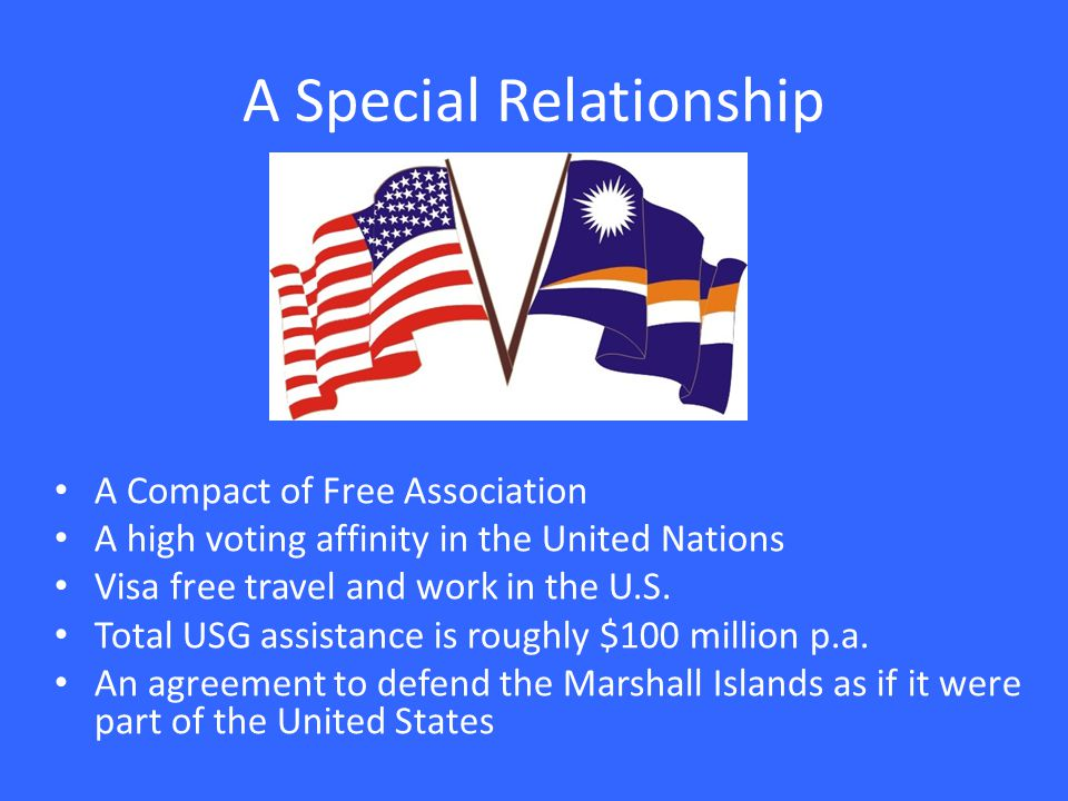 A Special Relationship A Compact of Free Association A high voting affinity in the United Nations Visa free travel and work in the U.S.