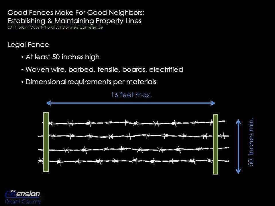 Good Fences Make For Good Neighbors: Establishing & Maintaining Property Lines 2011 Grant County Rural Landowners Conference Survey.