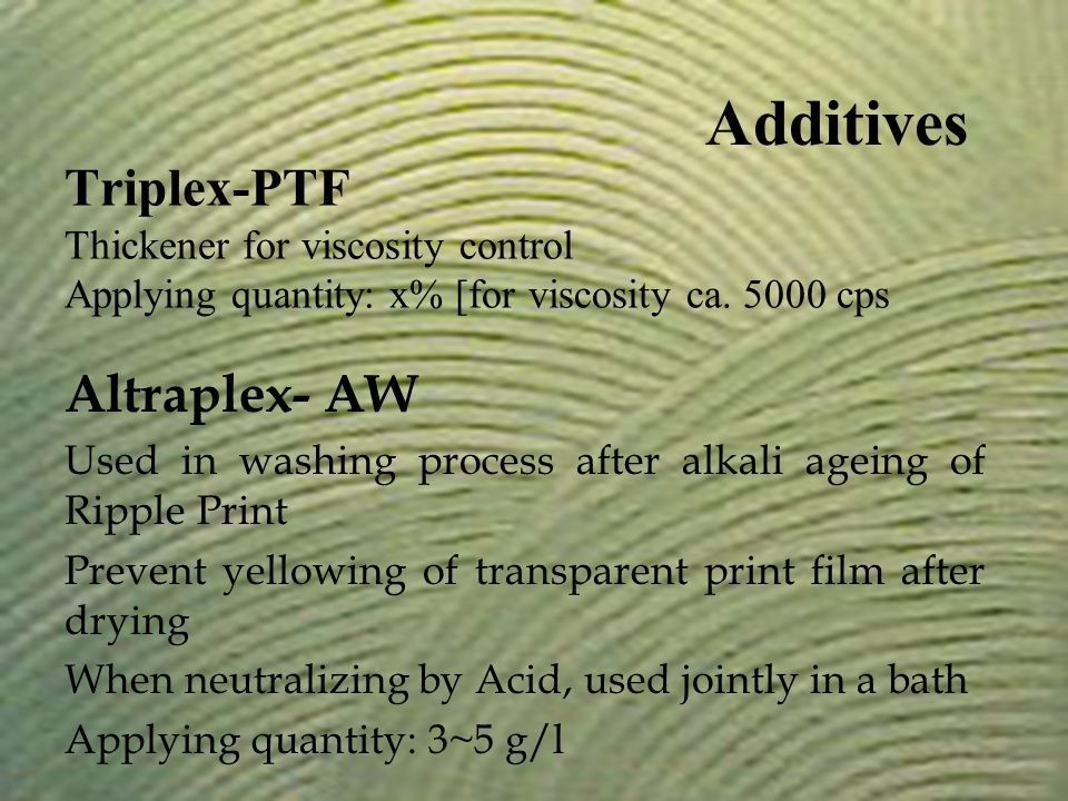 Altraplex- AW Used in washing process after alkali ageing of Ripple Print Prevent yellowing of transparent print film after drying When neutralizing b
