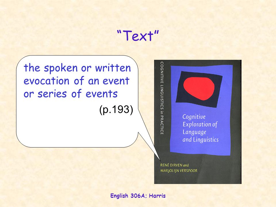 English 306A; Harris Text the spoken or written evocation of an event or series of events (p.193)