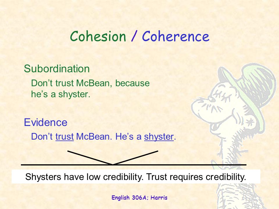 English 306A; Harris Cohesion / Coherence Subordination Don't trust McBean, because he's a shyster.