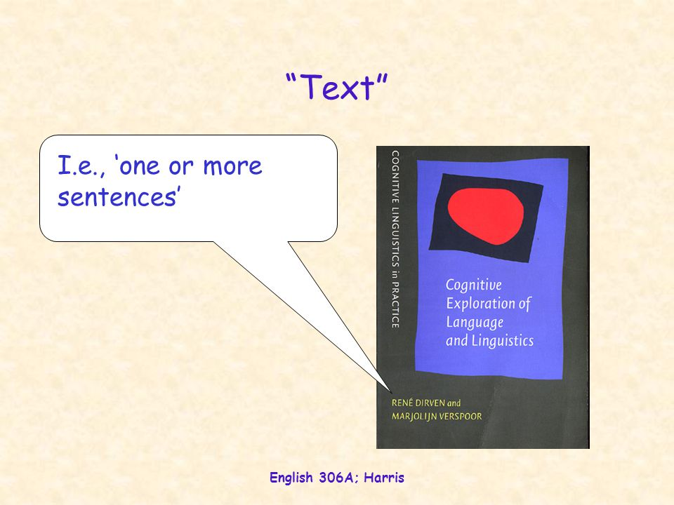 English 306A; Harris Text—Perceived whole The two weaving mechanisms Cohesion (elements) achieved by formal devices, usually lexico-syntactic semasiological Coherence (dimensions) achieved by conceptual devices ('ideas') onomasiological