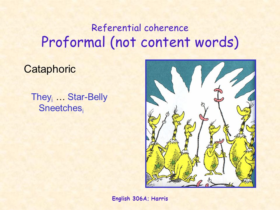 English 306A; Harris Referential coherence Proformal (not content words) Cataphoric They i … Star-Belly Sneetches i