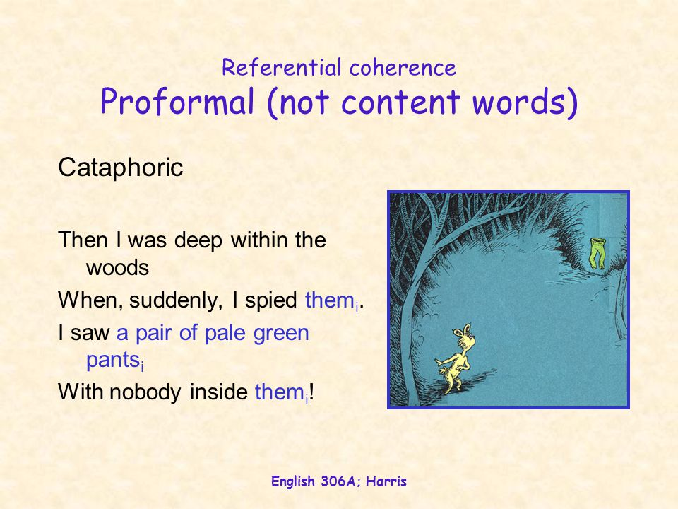 English 306A; Harris Referential coherence Proformal (not content words) Cataphoric Then I was deep within the woods When, suddenly, I spied them i.