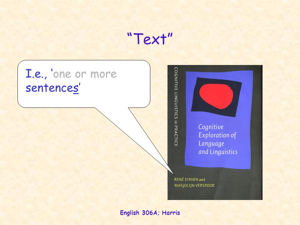 English 306A; Harris Text texere to weave text utterances (usually sentences) woven into a perceived whole