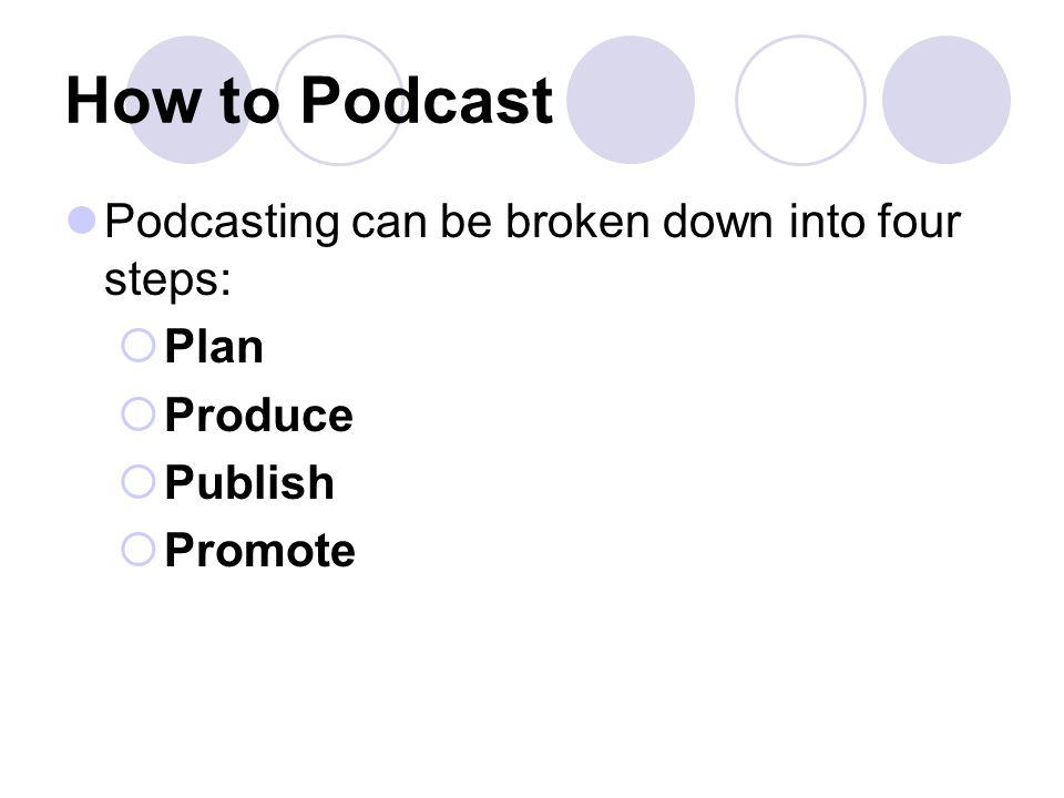 How to Podcast Podcasting can be broken down into four steps:  Plan  Produce  Publish  Promote