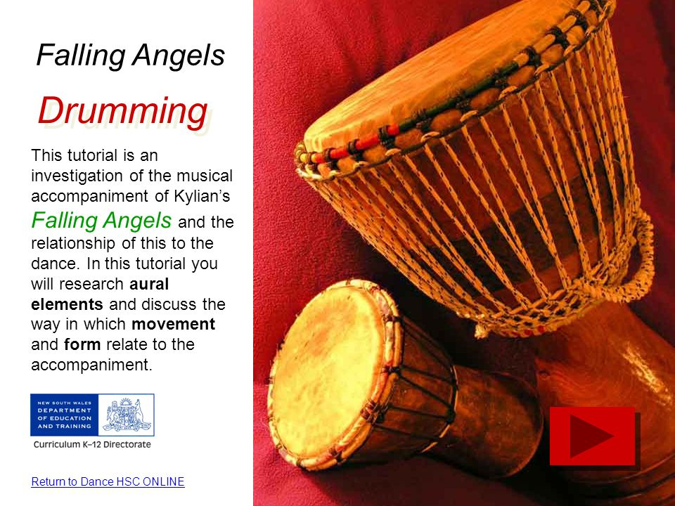 Falling Angels Drumming This tutorial is an investigation of the musical accompaniment of Kylian's Falling Angels and the relationship of this to the