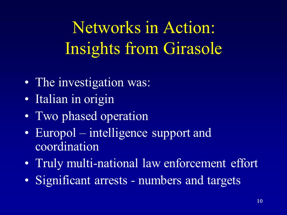 10 Networks in Action: Insights from Girasole The investigation was: Italian in origin Two phased operation Europol – intelligence support and coordin