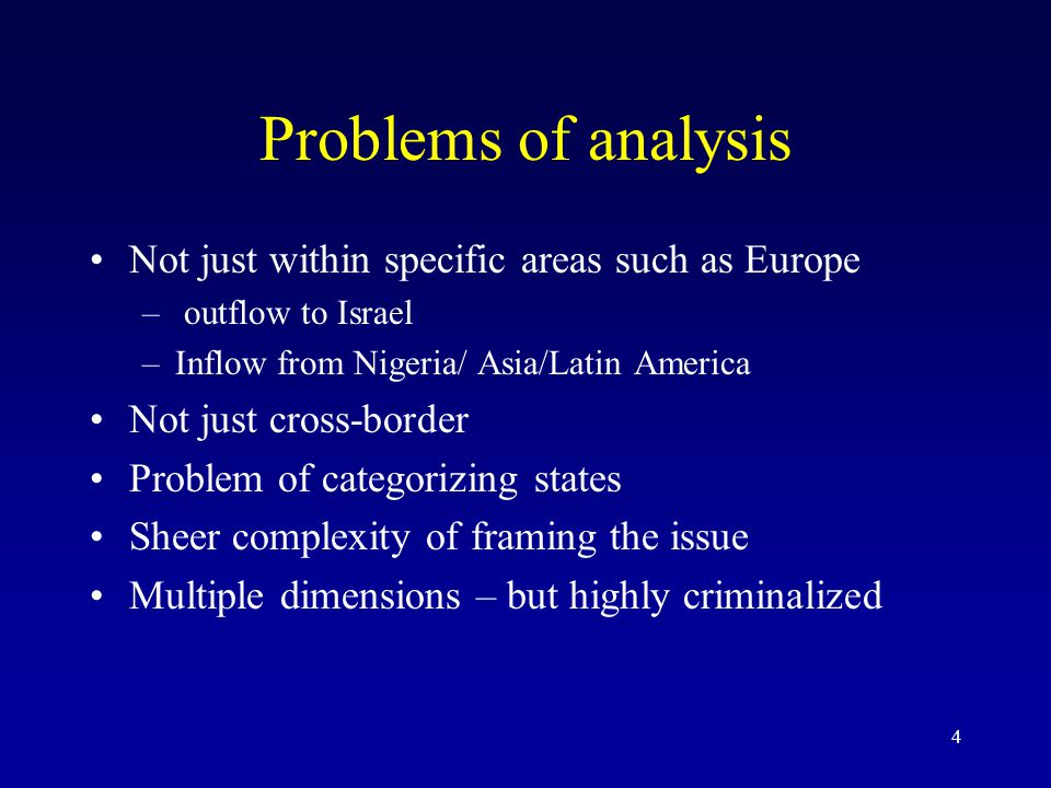4 Problems of analysis Not just within specific areas such as Europe – outflow to Israel –Inflow from Nigeria/ Asia/Latin America Not just cross-borde