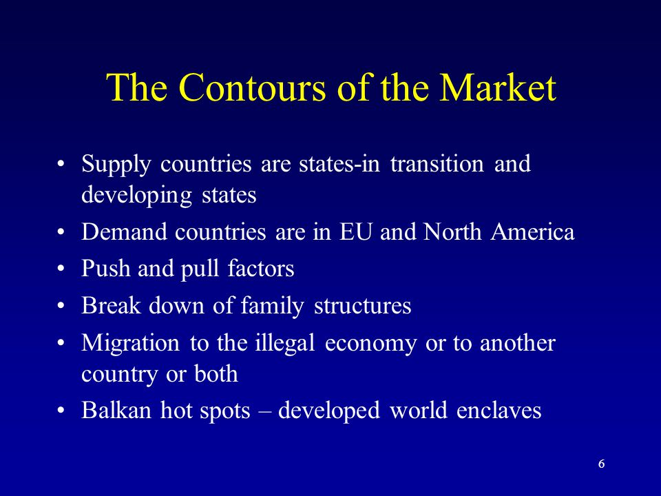 6 The Contours of the Market Supply countries are states-in transition and developing states Demand countries are in EU and North America Push and pul