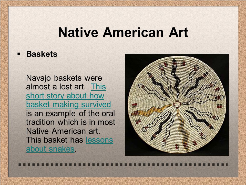 Native American Art  Baskets Navajo baskets were almost a lost art.