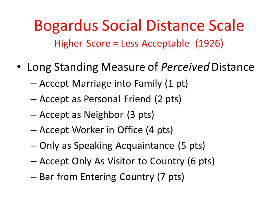 Bogardus Social Distance Scale Higher Score = Less Acceptable (1926) Long Standing Measure of Perceived Distance – Accept Marriage into Family (1 pt)