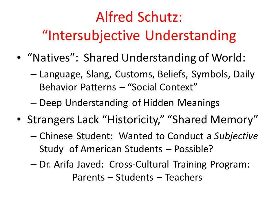 """Alfred Schutz: """"Intersubjective Understanding """"Natives"""": Shared Understanding of World: – Language, Slang, Customs, Beliefs, Symbols, Daily Behavior P"""