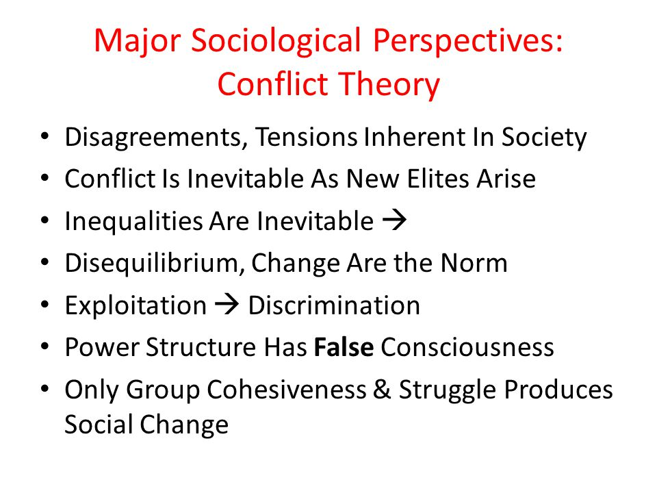 Major Sociological Perspectives: Conflict Theory Disagreements, Tensions Inherent In Society Conflict Is Inevitable As New Elites Arise Inequalities A