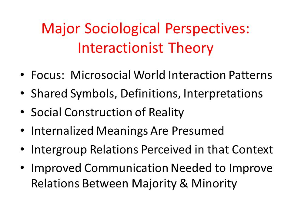 Major Sociological Perspectives: Interactionist Theory Focus: Microsocial World Interaction Patterns Shared Symbols, Definitions, Interpretations Soci