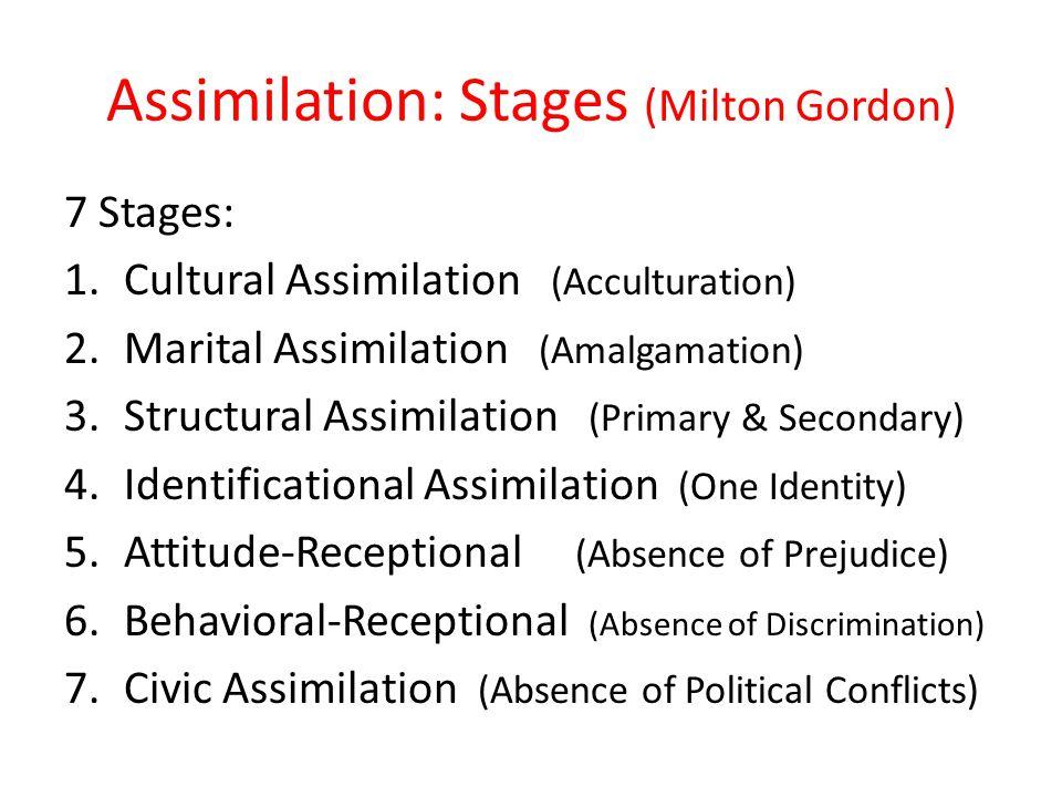 Assimilation: Stages (Milton Gordon) 7 Stages: 1.Cultural Assimilation (Acculturation) 2.Marital Assimilation (Amalgamation) 3.Structural Assimilation