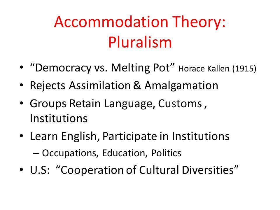 """Accommodation Theory: Pluralism """"Democracy vs. Melting Pot"""" Horace Kallen (1915) Rejects Assimilation & Amalgamation Groups Retain Language, Customs,"""