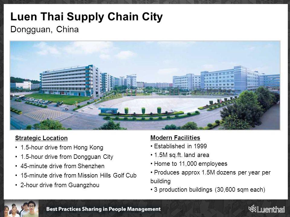 Luen Thai Supply Chain City Dongguan, China Strategic Location 1.5-hour drive from Hong Kong 1.5-hour drive from Dongguan City 45-minute drive from Sh