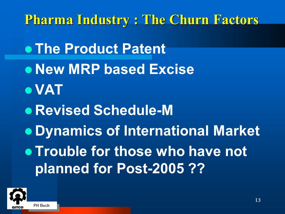 PH Buch 13 Pharma Industry : The Churn Factors The Product Patent New MRP based Excise VAT Revised Schedule-M Dynamics of International Market Trouble for those who have not planned for Post-2005 ??