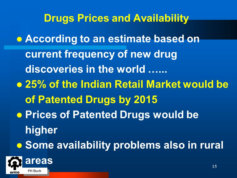 PH Buch 15 l According to an estimate based on current frequency of new drug discoveries in the world …... l 25% of the Indian Retail Market would be