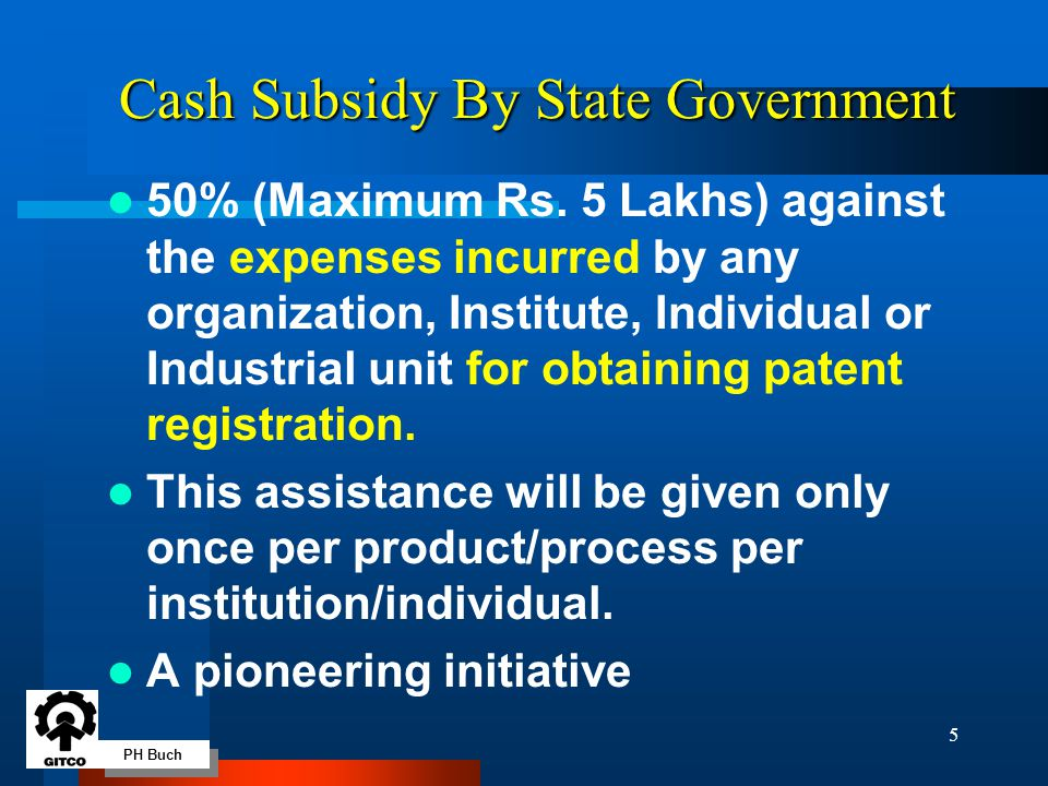 PH Buch 5 Cash Subsidy By State Government 50% (Maximum Rs.
