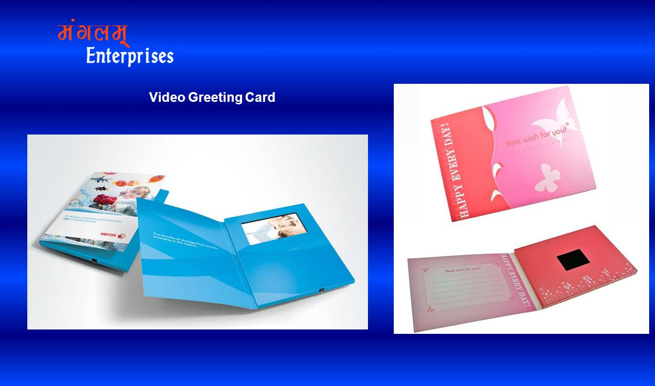 1.Support USB download video file 2.Various TFT screen size with hi-resolution 3.memory:128M~32G 4.video play when open card, Automatically playing customize Advertising Video, Built-in speaker,Gift of Merry Christmas,wedding celebration,Business advertising 5.Screen size:1.8 ,2.4 ,3.5 ,4.3 ,7.0 ,10 6.Material:greeting card + TFT sreen + USB + Battery 7.Power supply: batteries or recharger battery,Recharge the battery by USB 8.Customized design Video Greeting Card