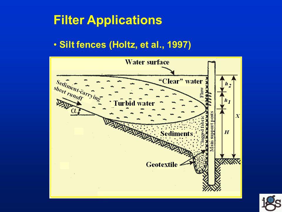 Filter Applications Silt fences (Holtz, et al., 1997)