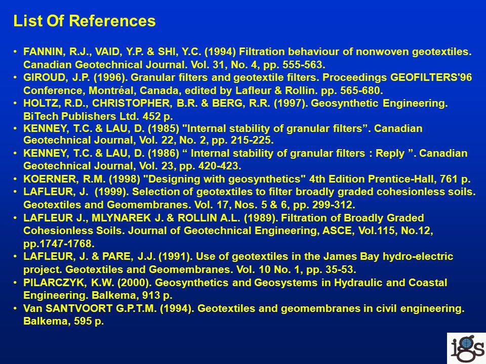 List Of References FANNIN, R.J., VAID, Y.P. & SHI, Y.C.
