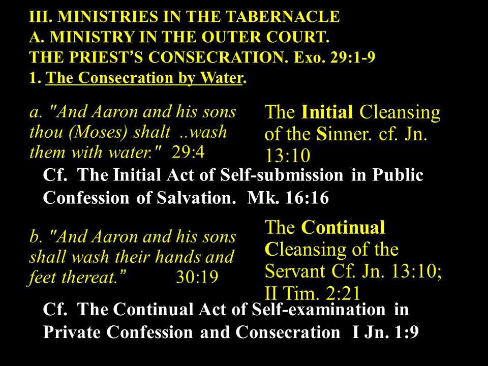 III. MINISTRIES IN THE TABERNACLE A. MINISTRY IN THE OUTER COURT.