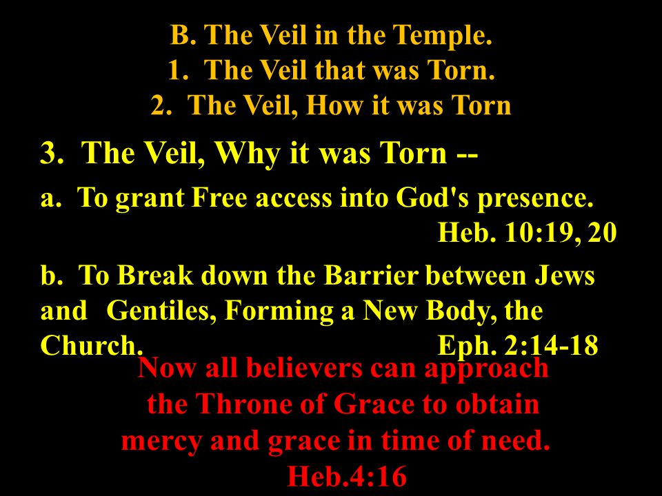 B. The Veil in the Temple. 1. The Veil that was Torn.