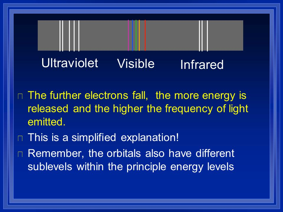 l The further electrons fall, the more energy is released and the higher the frequency of light emitted. l This is a simplified explanation! l Remembe