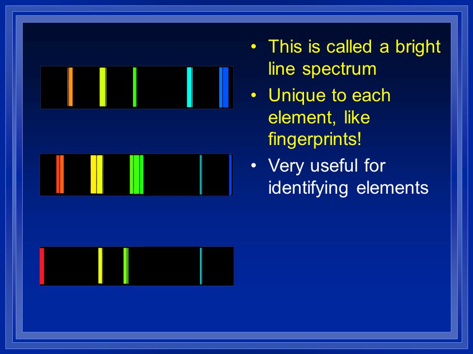 This is called a bright line spectrum Unique to each element, like fingerprints! Very useful for identifying elements