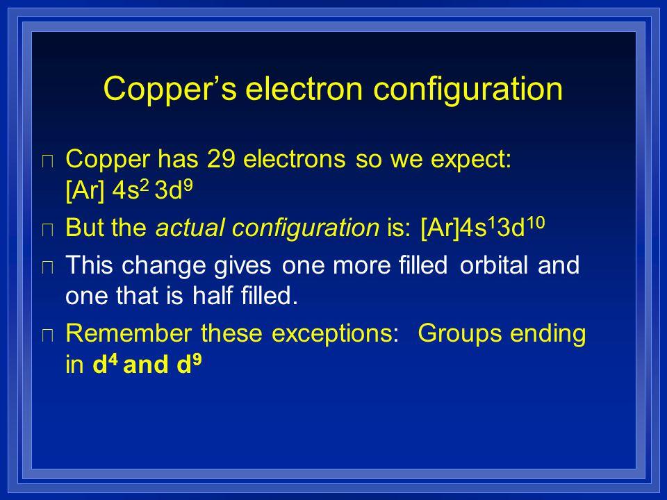 Copper's electron configuration l Copper has 29 electrons so we expect: [Ar] 4s 2 3d 9 l But the actual configuration is: [Ar]4s 1 3d 10 l This change