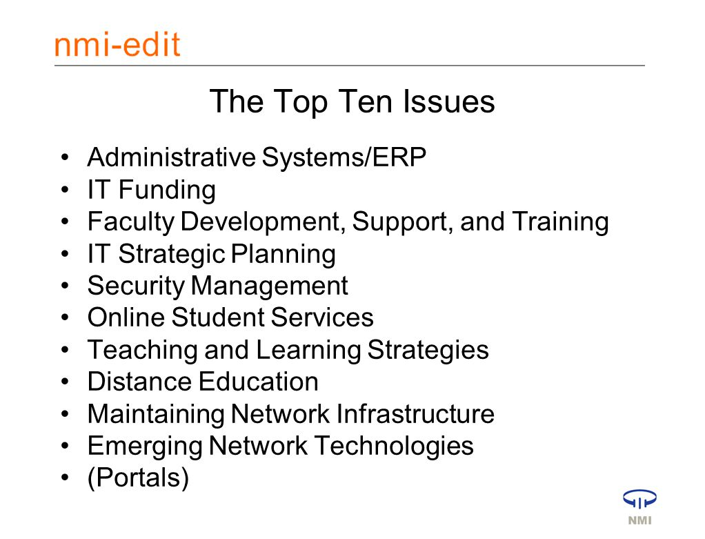 NERCOMP March 17, 2003 The Top Ten Issues Administrative Systems/ERP IT Funding Faculty Development, Support, and Training IT Strategic Planning Security Management Online Student Services Teaching and Learning Strategies Distance Education Maintaining Network Infrastructure Emerging Network Technologies (Portals)