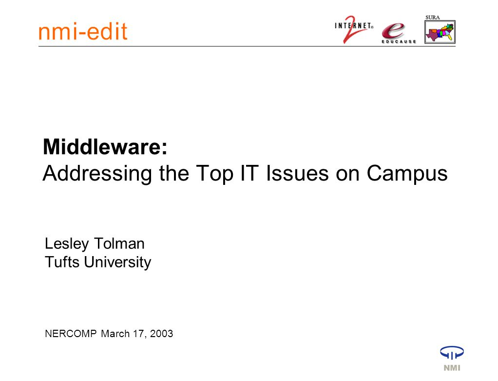 Middleware: Addressing the Top IT Issues on Campus Lesley Tolman Tufts University NERCOMP March 17, 2003