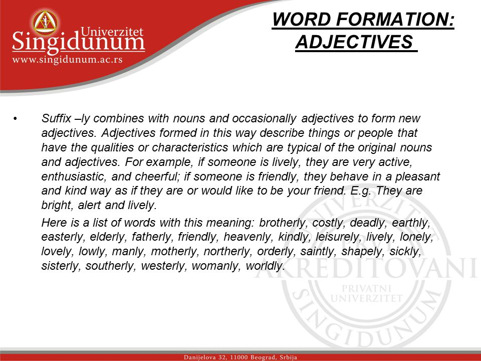 WORD FORMATION: ADJECTIVES str.
