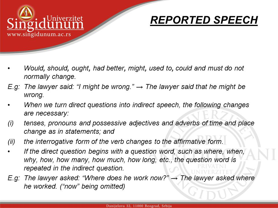 REPORTED SPEECH str.