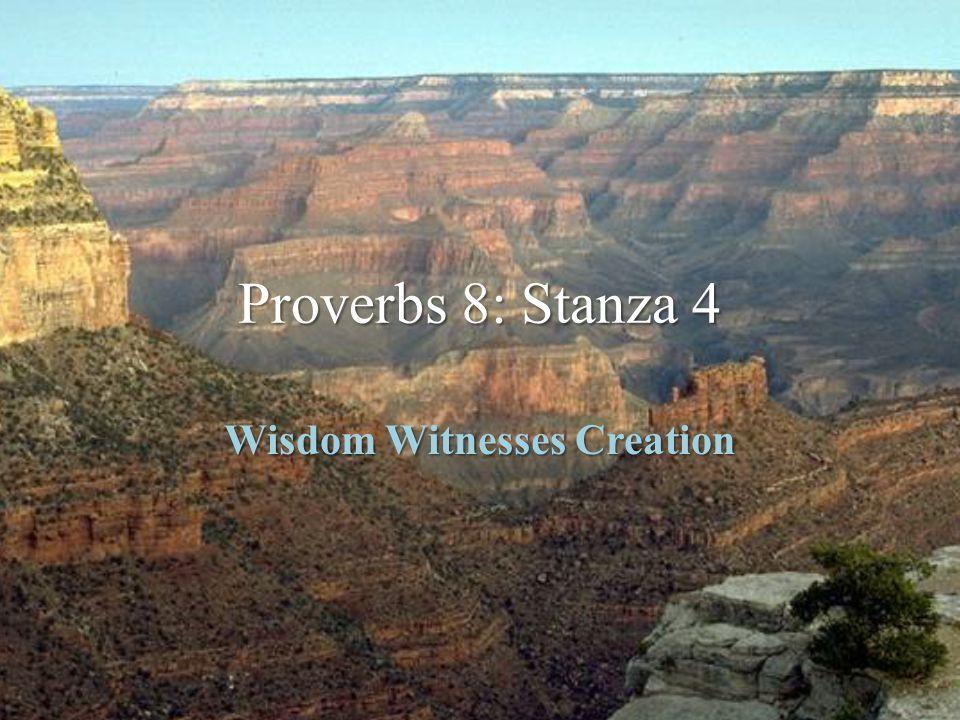 Proverbs 8: Stanza 4 Wisdom Witnesses Creation