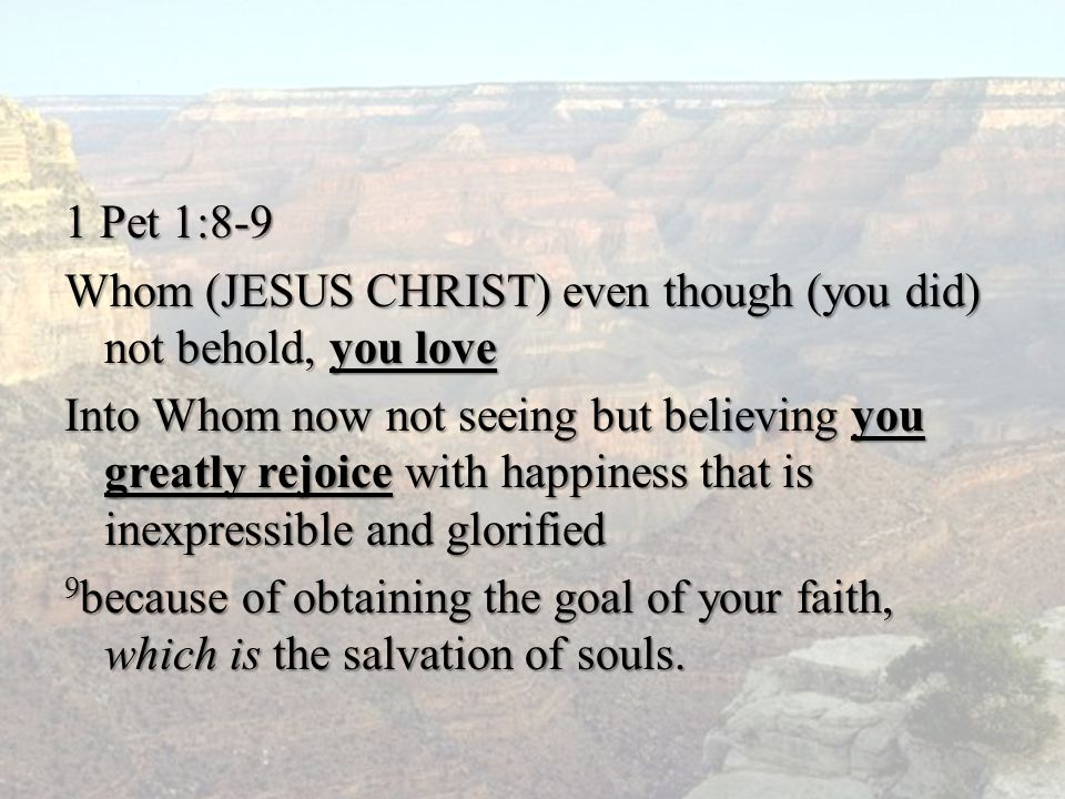 1 Pet 1:8-9 Whom (JESUS CHRIST) even though (you did) not behold, you love Into Whom now not seeing but believing you greatly rejoice with happiness t