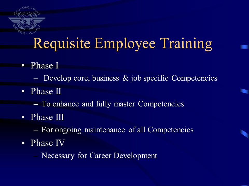 Training Programs Basic Aviation Enforcement Communications Skills Introduction to Risk Management Transport Canada Orientation Aerodrome Specialty Course Formal On The Job Training Program Initial Audit Procedures Project Management Course Human and Organizational Factors Training Flight Training – Currency for those with ATPL