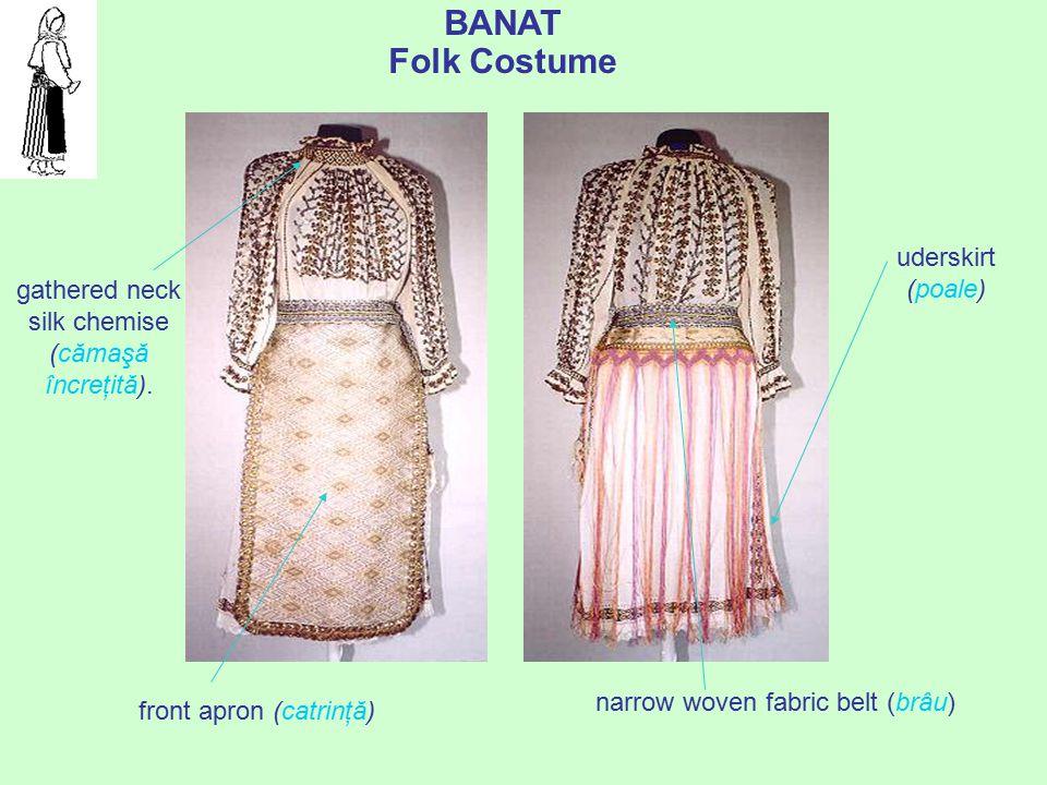 "prof. dr. Daniela Văleanu, Liceul Pedagogic ""Carmen Sylva"", Timişoara BANAT Folk Costume narrow woven fabric belt (brâu) uderskirt (poale) gathered ne"
