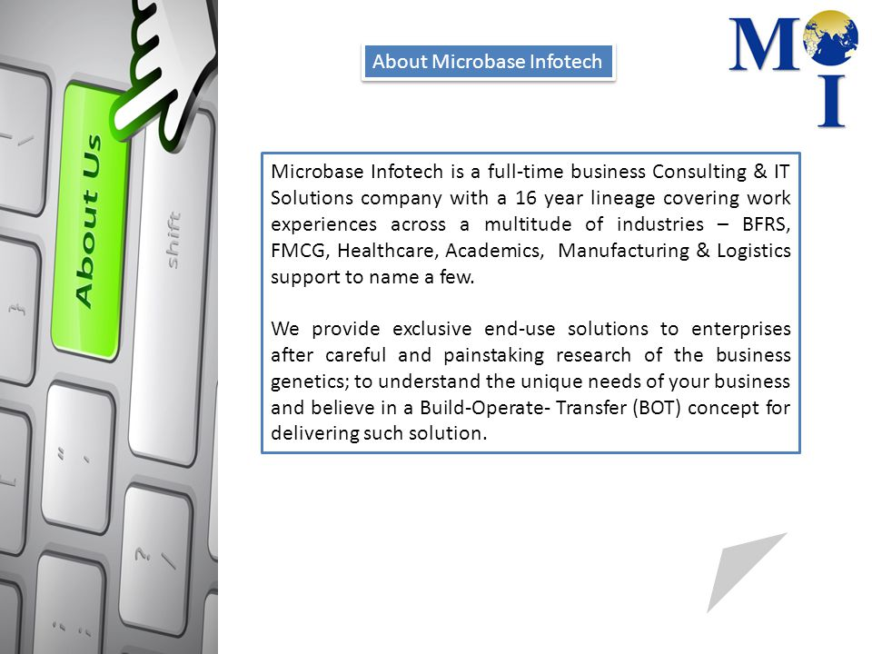 About Microbase Infotech Microbase Infotech is a full-time business Consulting & IT Solutions company with a 16 year lineage covering work experiences