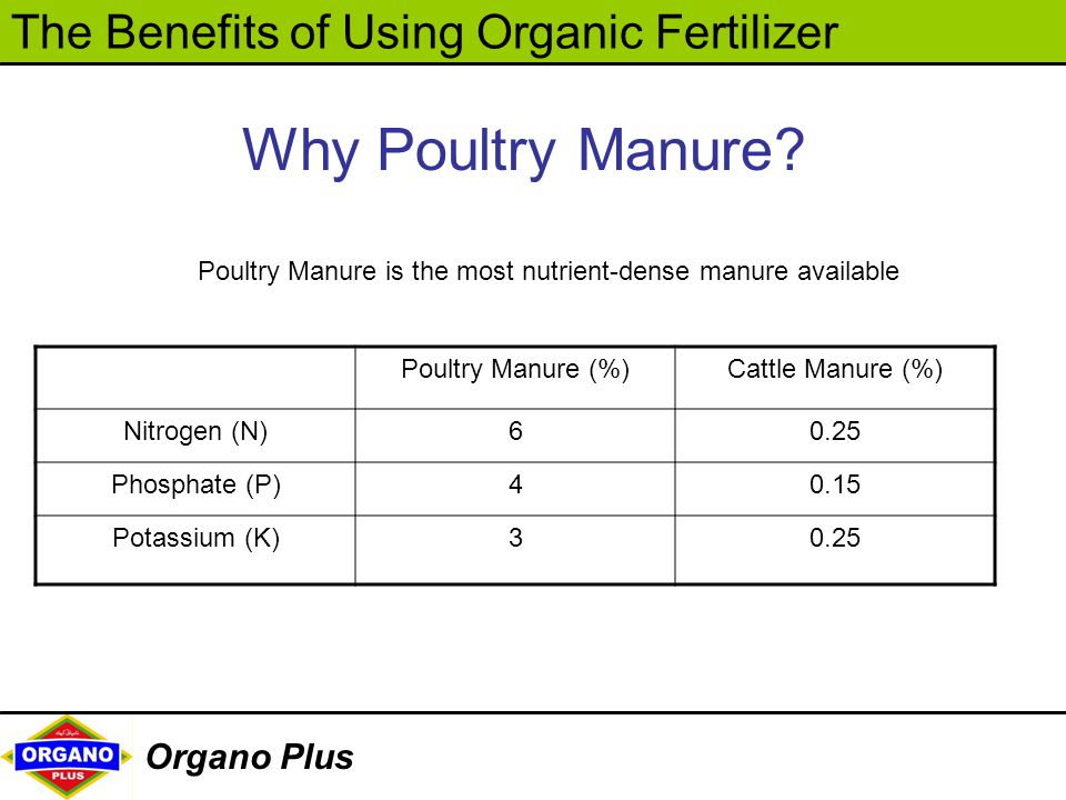 The Benefits of Using Organic Fertilizer Organo Plus Why Poultry Manure? Poultry Manure is the most nutrient-dense manure available Poultry Manure (%)