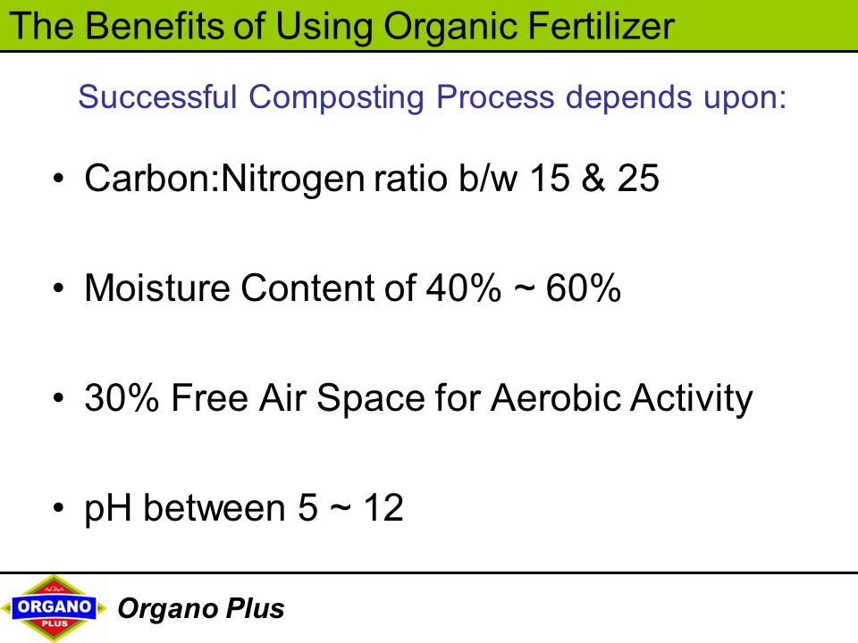 The Benefits of Using Organic Fertilizer Organo Plus Successful Composting Process depends upon: Carbon:Nitrogen ratio b/w 15 & 25 Moisture Content of
