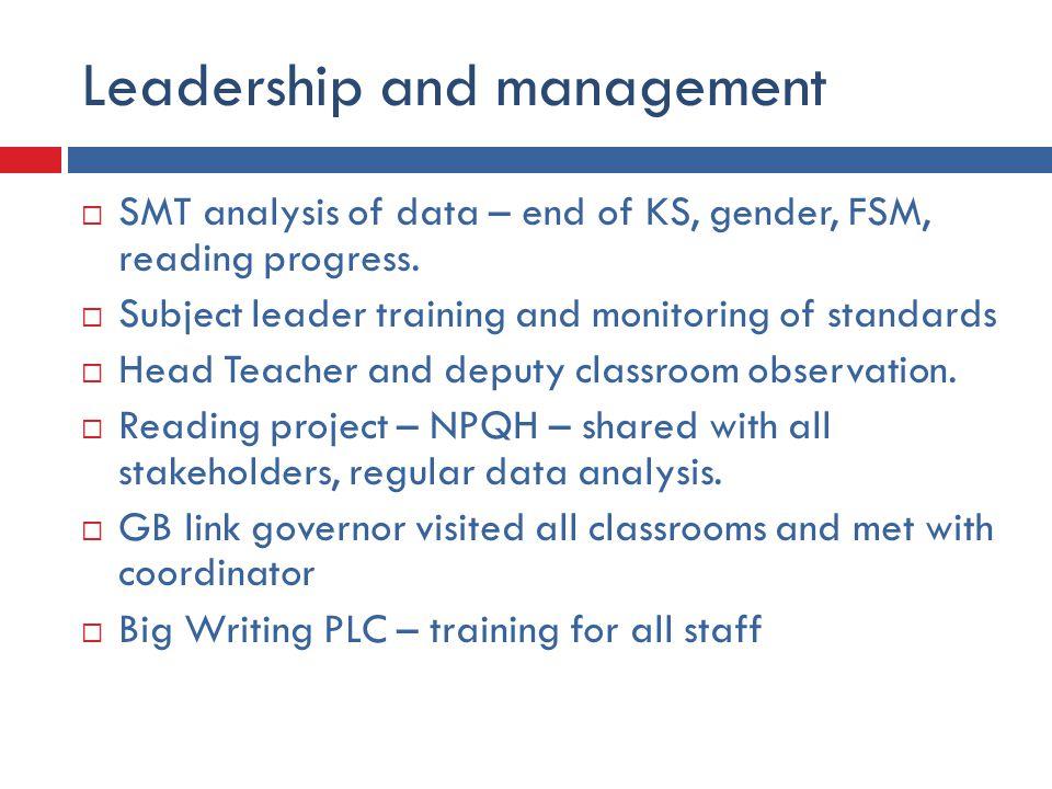 Leadership and management  SMT analysis of data – end of KS, gender, FSM, reading progress.