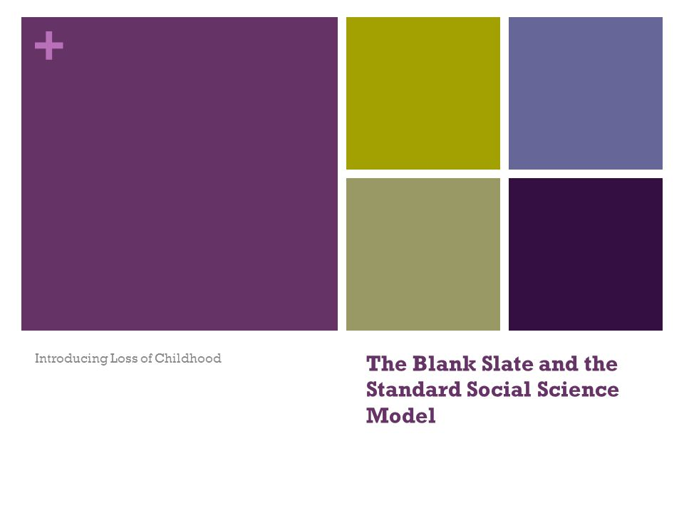 + The Blank Slate and the Standard Social Science Model Introducing Loss of Childhood
