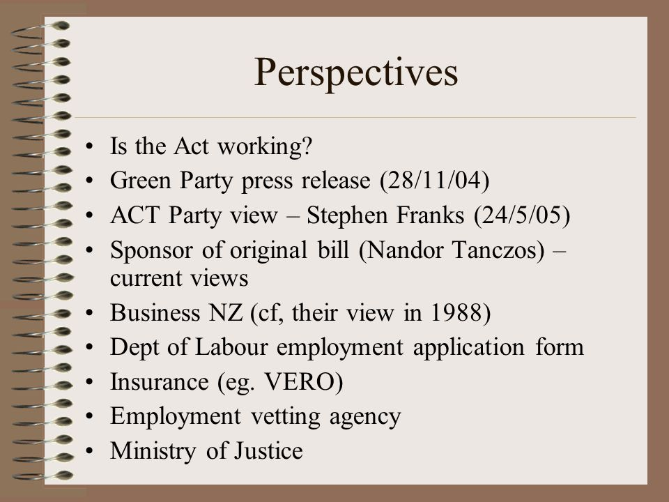 Perspectives Is the Act working? Green Party press release (28/11/04) ACT Party view – Stephen Franks (24/5/05) Sponsor of original bill (Nandor Tancz